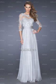 A-Line/Princess Bateau Floor-length Chiffon Lace Evening Dresses - IZIDRESSES.com at IZIDRESSES.com