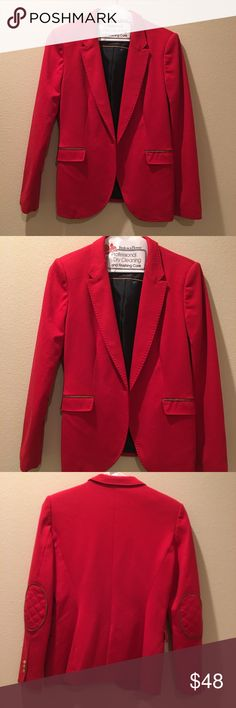 Zara Blazer Jacket Beautiful Zara lined blazer jacket, nice stylish elbow patches, sleeves have Golden beautiful buttons, only flaw front button missing. Please see all photos for any details, just got it dry cleaned I was going to keep it but I changed d my mind ❤️ Zara Jackets & Coats Blazers