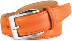 Stand out from the crowd with this hand painted, genuine Italian leather belt by Pakerson. It comes in a beautiful tangerine orange hue with a polished silvertone buckle and tonal stitching for a fun yet refined look.