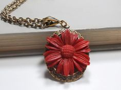 Necklace and Flower Pendant Red Daisy Resin by TrudyAnnDesigns