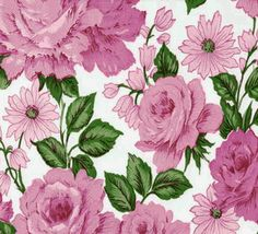 Purple Shabby Chic Roses Oilcloth Fabric