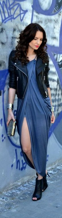 Stylish slate blue long dress with black leather jacket..... (click on picture to see more stuff)