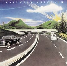 The song Autobahn from the album of the same name by Kraftwerk. Rock Album Covers, Classic Album Covers, Music Album Covers, Music Albums, Lp Cover, Vinyl Cover, Cover Art, Cgi, Musica Disco