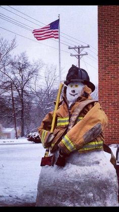 Firefighter the snowman may get to do this again this year Firefighter Family, Firefighter Pictures, Volunteer Firefighter, Firefighter Humor, Fire Dept, Fire Department, Snow Sculptures, Snow Art, Frosty The Snowmen