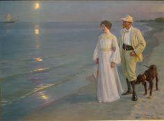 Peder Severin Kroyer 1851-1909 | Summer Evening on the Beach at Skagen | Plein-air painting