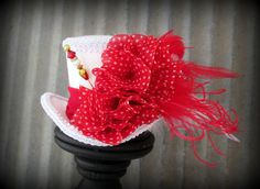 Red and White Polka Dot Mini Top Hat, Alice in Wonderland,Mad Hatter Hat, Steampunk mini top, Tea Party Wedding Mini top hat, Tea Party Hat