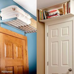 These are not very pretty but I like the idea.Above-the-Door Shelves- Quick Home Upgrades That Deliver Big Results Small Space Living, Small Spaces, Empty Spaces, Small Bedroom Storage, Linen Storage, Extra Storage, Door Shelves, Home Upgrades, Diy Home Improvement