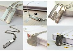 """Our range of """"Inked"""" Fingerprint Necklaces - by using a combination of traditional jewellery making techniques and modern metal technology, we produce bespoke, handcrafted jewellery that you will treasure for years to come."""