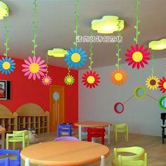商场小学幼儿园装饰挂饰教室用品*走廊环境布置*双面大太阳花吊饰