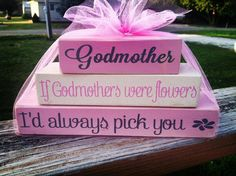 Godmother godparents baptism christening church mini stacker wood block set personalized with saying of choice