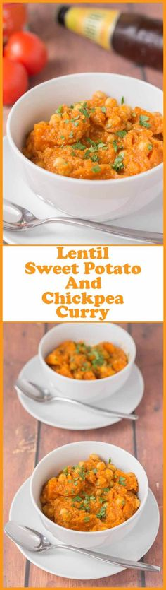 Lentil, sweet potato and chickpea curry is a tasty vegan and gluten-free quick healthy meal. A simple blend of spices and healthy ingredients combine to create this amazing dish! via @neilhealthymeal