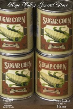 Canned sugar corn was popular when it was hard to bring fresh corn to Hope Valley. Pin this image for a chance to win a $500 Visa gift card in our My Hope Valley General Store Pinterest Sweepstakes!  #Hearties #HallmarkChannel