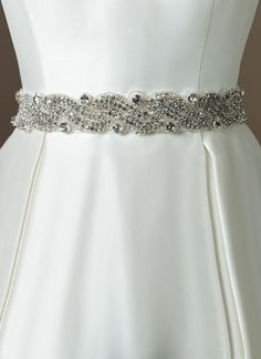 Justin Alexander wedding accessories style Taffeta bias 2 inch self tie belt with swirl beaded pattern with crystals, bugle beads and rhinestones. Dress Sash, Ball Gown Dresses, Bridal Dresses, Dress Belts, Dress Skirt, Cheap Wedding Gifts, Wedding Gifts For Groomsmen, Wedding Sash, Wedding Garters
