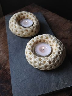 Set of 2 handmade offwhite ceramic tea light por StroudwaterStudio, $30.00