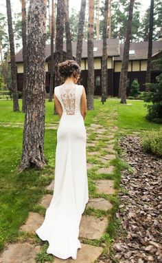 Ivory Crepe Open Back Wedding Dress and Handmade Embellishments, Bridal Dress with Train L12, Simple Wedding Dress