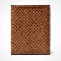 Plaid leather passport case