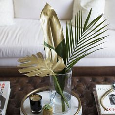 Chic DIY: Gold Painted Tropical Leaves   Lifestyle tips by Louise Roe