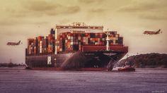 #Containerschiff #Elbe #Hamburg