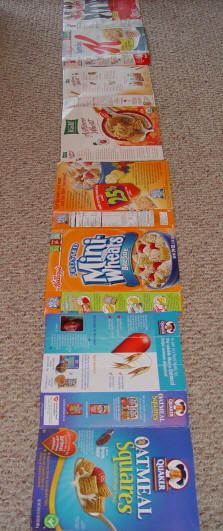 Cereal Box Sidewalk!  Make something fun for your toddler to toddle on! Use a bunch of empty cereal boxes and cut them open. Then cut the top and bottom flaps off. Lay them down on the floor in a line and let your toddler crawl, toddler, or walk on top of them! As he is walking on them, talk about what color he sees or what color his foot is on, or what object he is standing on! You can point out some letters too!