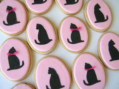Cat silhouette cookies...love!  http://www.etsy.com/shop/acookiejar