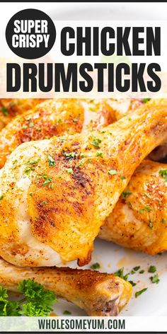 Crispy Baked Chicken Legs Drumsticks Recipe - This easy oven roasted chicken drumsticks recipe will make SUPER crispy baked chicken legs that turn out perfectly every time! It's the only guide for how to bake chicken legs you'll ever need. Chicken Leg Recipes Oven, Crispy Baked Chicken Legs, Oven Baked Chicken Legs, Baked Chicken Drumsticks, Keto Chicken, Rotisserie Chicken, Chicken Tenders, How To Bake Chicken, Appetizers