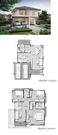 chic home decor Dream House Plans, Modern House Plans, Small House Plans, Modern House Design, House Floor Plans, Villa Plan, Planer Layout, Sims House, Story House