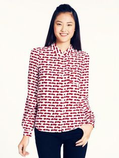 why a statement blouse is a good idea: wear itwith jeans or a circle skirt on the weekend, a pencil skirt at the office, or peeking out from under a slim sweater any day of the week — the lorelle top by kate spade new york. Kate Spade Outlet, Professional Attire, Love Shirt, Work Tops, Designing Women, I Dress, Spring Summer Fashion, Style Me, Cute Outfits