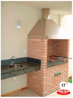 Churrasqueiras em Alvenaria | Churrasqueiras de Alvenaria Diy Outdoor Kitchen, Outdoor Oven, Home Decor Kitchen, Outdoor Cooking, Barbecue Design, Grill Design, Patio Interior, Interior Design Living Room, Parrilla Exterior