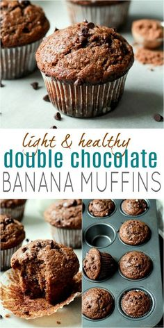 Skinny Double Chocolate Banana Muffins are the muffins of your dreams! A healthy… Skinny Double Chocolate Banana Muffins are the muffins of your dreams! A healthy, no sugar banana muffin recipe with loads of chocolate & banana flavor. Healthy Banana Muffins, Chocolate Banana Muffins, Healthy Muffin Recipes, Healthy Sweets, Healthy Baking, Gourmet Recipes, Dessert Recipes, Healthy Chocolate Desserts, Healthy Nutrition