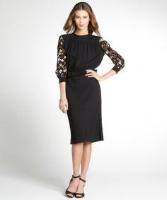 Miu Miu black sequined crepe long sleeve cut out back dress