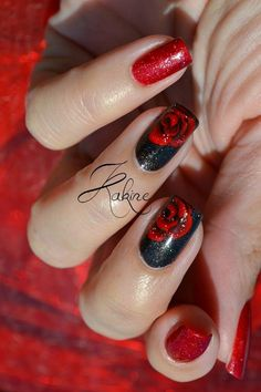 Black and Red Rose Nail Art Design.