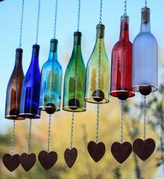 love these colorful wine bottle wind chimes (Wine Bottle Gift)