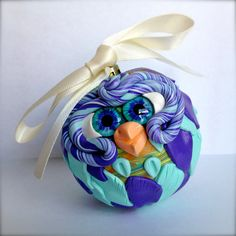 Grape Soda  Polymer Clay Owl Ornament w/ Ribbon by TheNakedPeacock, $14.95
