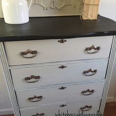 Vintage 5 drawer tall dresser painted in Miss Mustard Seed Milk Paint in Marzipan which is a soft neutral beige. Top has been stained in Java Gel, ... image 1