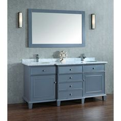 Adana 72 inch Gray Double Sink Bathroom Vanity Set gorgeous unit offers a breakfront styling, which is provided with four functional drawers at the center and is flanked by one single-door cabinet http://www.listvanities.com/contemporary-bathroom-vanities.html on each side. The front panels are enriched with brushed nickel hardware and sleek molding, while a carrara white marble top adorns the counter that comes included with an undermount porcelain basin.
