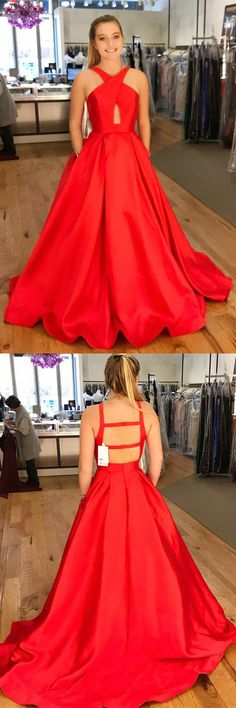 2018 prom dress, red prom dress, long prom dress with pockets, red ball gown, graduation dress,satin prom dresses #red #satin #pockets #aline #long #okdresses