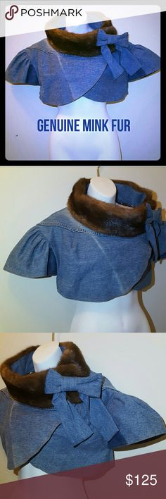 NEW denim bolero with genuine mink collar this bolero closes with snaps along the jacket. the bow at the collar snaps on and off. fades and dark spots natural to the denim material jocelyn Jackets & Coats