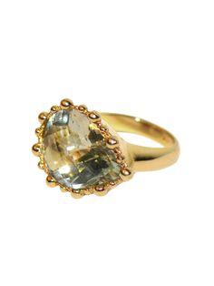 Green Amethyst & Gold Ring