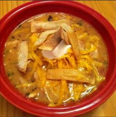 Quick and Easy Chicken Tortilla Soup Ingredients: 1 pound boneless, skinless chicken, cooked 6 Corn Tortillas 2 Cans Chicken Broth 1 Can Black Beans, drained and rinsed 1 Cup Frozen Corn 1-1/2 Cups Salsa 1/4 Cup Sour Cream.