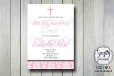 Damask Girls Communion Invitation or Baptism by simplyprintable
