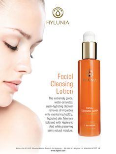 Facial Cleansing Lotion - Remove dirt and impurities without stripping skin of natural oils. Hyaluronic Acid helps hydrate the skin for a fresh look and feel. #hylunia #agedefying #gentlecleanser