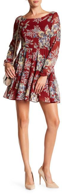 Tassels N Lace Long Sleeve Floral Mini Dress