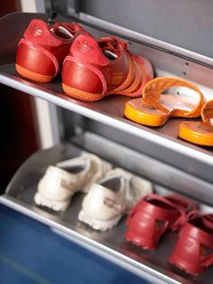 Tucked Away - Banish wayward shoes in your closet with a wall-mount shoe organizer. Shelves fold up against the wall to conceal shoes. By moving some shoe storage to the wall, the closet floor has more space to store boots and high heels that don't fit in the wall-mount organizer.