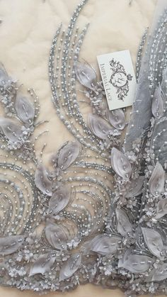 Luxury 3D gray lace fabric hand made pearl by ImperialLingerie