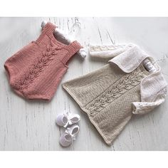 Baby Girls A-line dress with Bolero and Rompers Knitting pattern by OGE Knitwear Designs Designer Knitting Patterns, Baby Knitting Patterns, Free Knitting, Crochet Patterns, Crochet Baby Sweaters, Crochet Hats, Knit Baby Dress, How To Make Clothes, Making Clothes