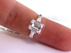 Harry Winston Engagement Rings, Engagement Ring Types, Baguette Engagement Ring, Three Stone Engagement Rings, Rose Gold Engagement Ring, Engagement Jewellery, Diamond Ring Cuts, 3 Stone Diamond Ring, Baguette Diamond Rings