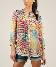 Look what I found on #zulily! Blue & Pink Abstract Button-Up Top by Kushi by Jasko #zulilyfinds
