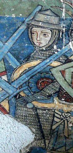 Round shield. Fresco in Gozzoburg, Krems an der Donau, Austria (1300)