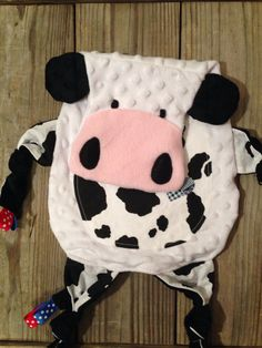Cow Tag Blankie by TiedByTi on Etsy