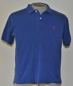 Ralph Lauren Polo Sport Shirt Medium Boys Solid Blue 100% Cotton Short Sleeve    #RalphLaurenPoloSport free shipping auction starting at $12.99